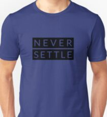Never Settle - OnePlus Style - Black and White Slim Fit T-Shirt
