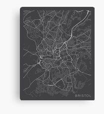 Bristol Map, England - Gray Canvas Print