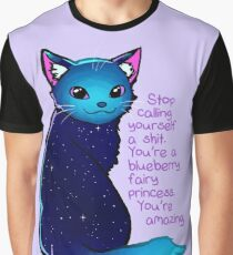"""You're A Blueberry Fairy Princess"" Galaxy Cat Graphic T-Shirt"