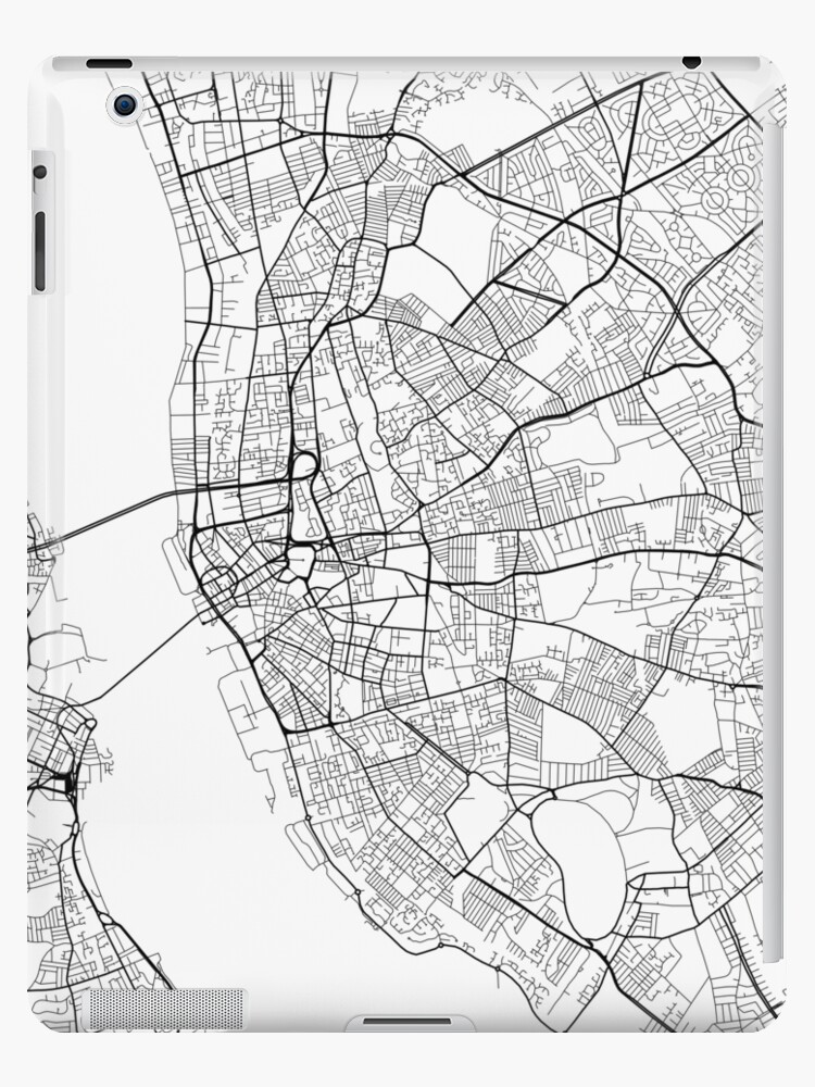 Liverpool On The Map Of England.Liverpool Map England Black And White Ipad Cases Skins By