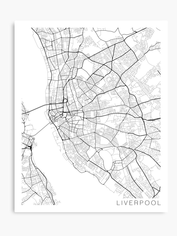 Liverpool On The Map Of England.Liverpool Map England Black And White Canvas Print By