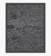 London Map, England - Gray Photographic Print