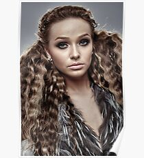 Fashion model on gray background, closeup Poster