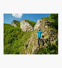 Teenager boy posing on the mountains Photographic Print