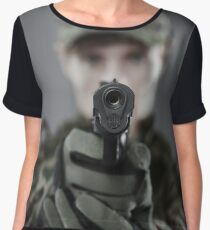 Military guy shooting Chiffon Top