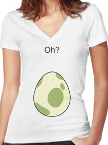 Pokemon GO Egg Oh? Women's Fitted V-Neck T-Shirt