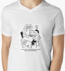 Man in a dating agency wants an ambitious girl Men's V-Neck T-Shirt