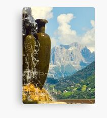 Fountain with the Dolomites beyond Canvas Print