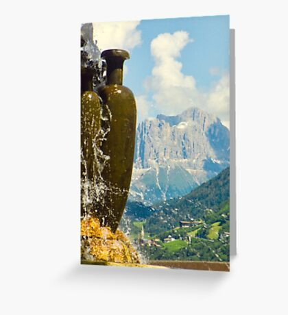 Fountain with the Dolomites beyond Greeting Card