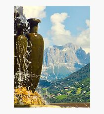 Fountain with the Dolomites beyond Photographic Print