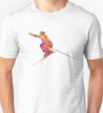 Woman skier skiing jumping 03 in watercolor Unisex T-Shirt