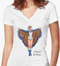 """He-Man Sorceress """"Protected By Magic"""" Women's Fitted V-Neck T-Shirt"""