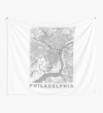 Philadelphia City Map Line Wall Tapestry