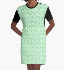Science Pattern (Green) Graphic T-Shirt Dress