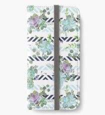 Green colorful succulent Echeveria seamless vector design print iPhone Wallet/Case/Skin