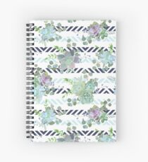 Green colorful succulent Echeveria seamless vector design print Spiral Notebook