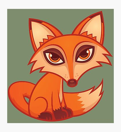 Cartoon Red Fox Photographic Print