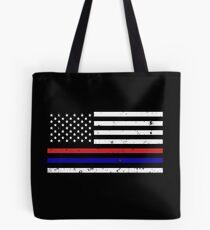 Thin Blue Red Line Flag Tote Bag