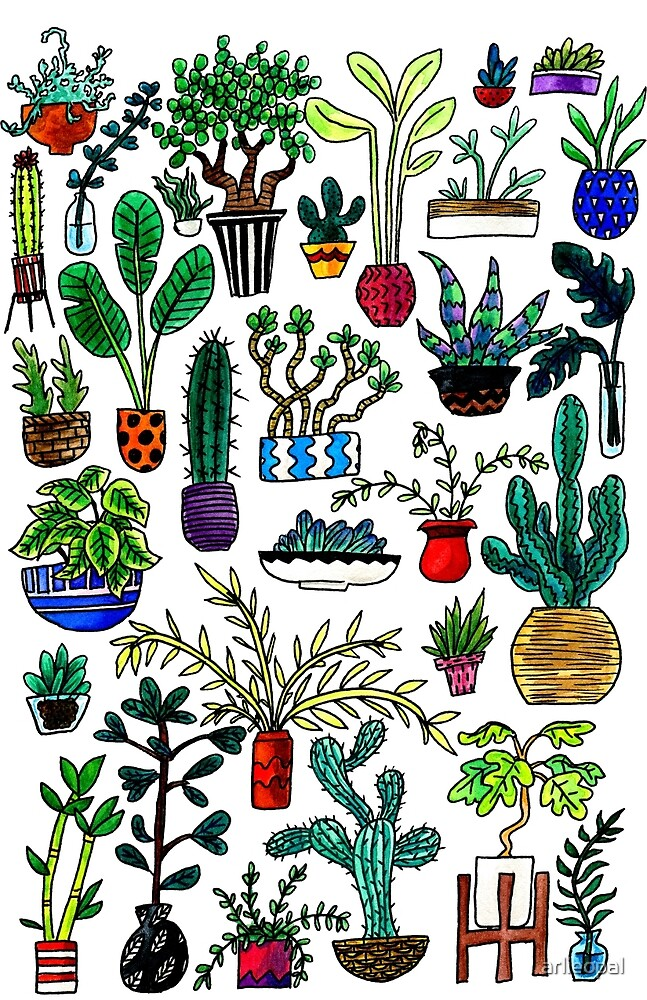 I Want All the Plants Watercolor Painting by arlieopal