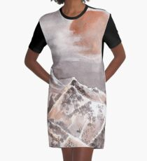 Blood Moon Eclipse and Mountain Landscape Graphic T-Shirt Dress