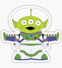 Little Green Men Aliens + Buzz Lightyear Sticker