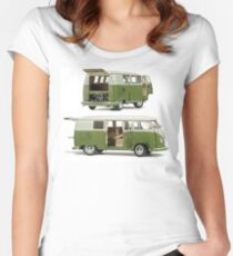 Bay Window Bus green white Women's Fitted Scoop T-Shirt