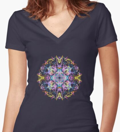 Floral Lights Fitted V-Neck T-Shirt