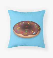 Chocolate Donut with Sprinkles Throw Pillow
