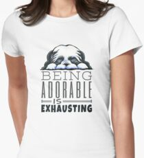 Shih Tzu Being Adorable Womens Fitted T-Shirt