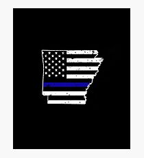 Arkansas Thin Blue Line Police Photographic Print