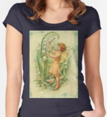 Fairy,flowers,angel,rustic,grunge,collage,wings,romantic Women's Fitted Scoop T-Shirt