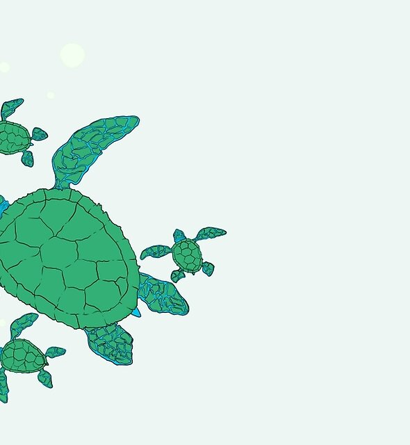 Green Sea Turtle Family by recycledcan