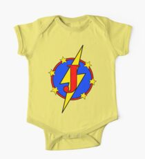 My Cute Little Super Hero - Letter J One Piece - Short Sleeve