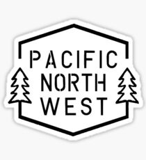 PNW Simple Hexagon - White Trees Sticker