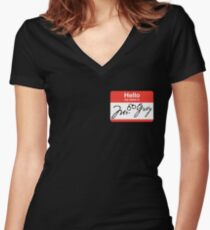 Hello My Name is Mr. Grey Women's Fitted V-Neck T-Shirt