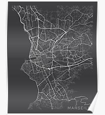 Marseille Map, France - Gray Poster