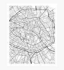 Paris Map, France - Black and White Photographic Print