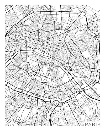 Paris Map Black And White.Paris Map France Black And White Photographic Prints By