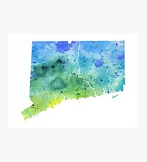 Hand Painted Watercolor Map of Connecticut in  Blue and Green  Photographic Print