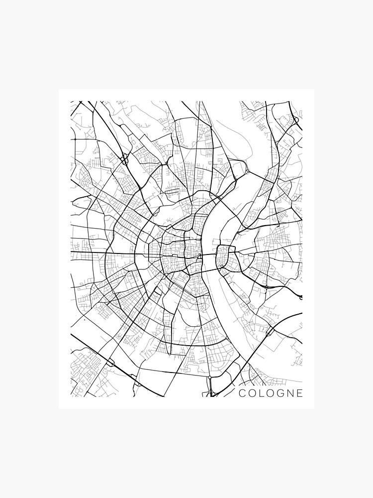 Carte Allemagne Noir Et Blanc.Carte De Cologne Allemagne Noir Et Blanc Impression Photo