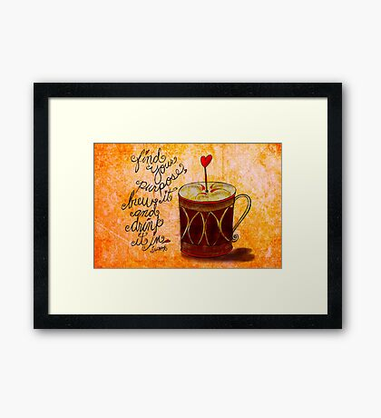 What my #Coffee says to me June 23, 2013 Framed Print