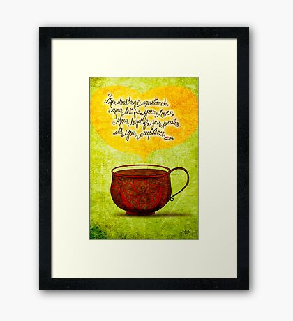 What my #Coffee says to me - Feb 24, 2014  Framed Print