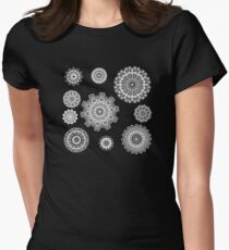 Flower Ornament Black and White 2 Womens Fitted T-Shirt