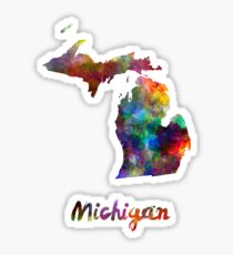 Michigan US state in watercolor Sticker