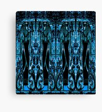 Egyptian Priests and Cobras in Blue III Canvas Print
