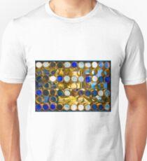 Blue mosaic glass window at sunset T-Shirt