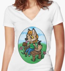 Summertime Treat - Coyote with Ice Cream Women's Fitted V-Neck T-Shirt