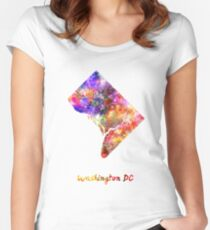 Washington DC US state in watercolor Women's Fitted Scoop T-Shirt