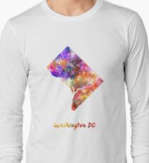 Washington DC US state in watercolor Long Sleeve T-Shirt