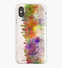 Seattle skyline in watercolor background iPhone Case/Skin